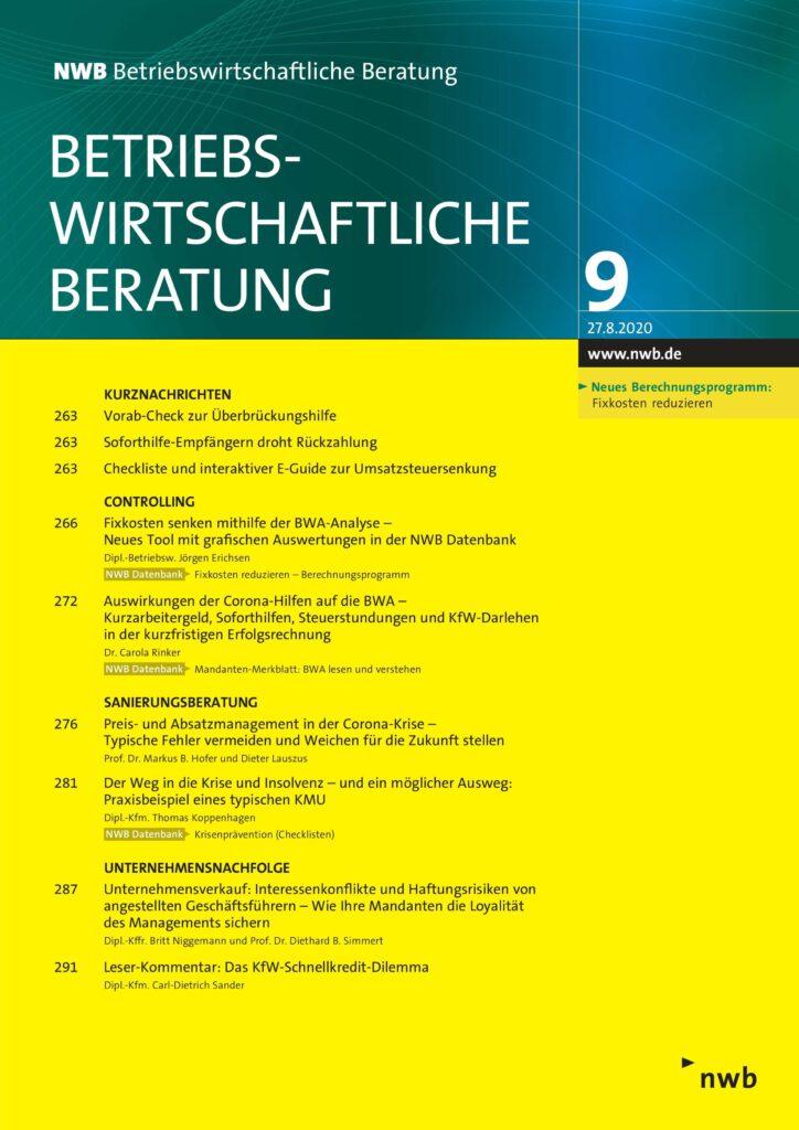 """Zeitschrift """"NWB Betriebswirtschaftliche Beratung"""""""